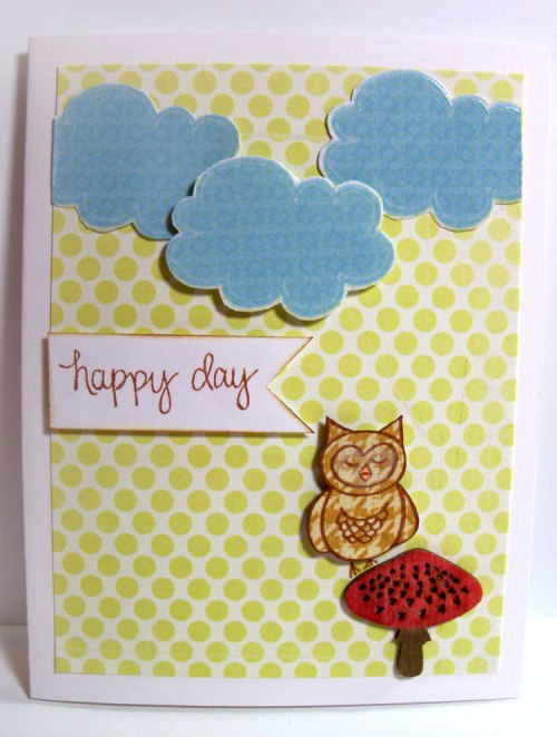 Happy Day card with Wood Veneers and paper piecing