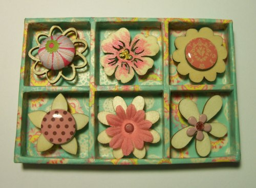 Petite Shadow Box with flowers and wood
