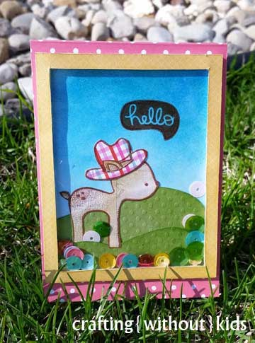 Shaker card by CraftingwithoutKids for the Pretty Pink Posh Blog Hop