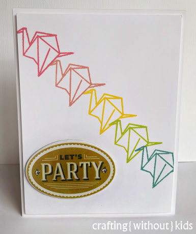 Origami Party card made by Crafting{Without}Kids for BE Inspired Challenge.