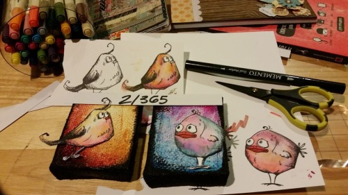 Birdies colored with Tim Holtz Distress Markers for Crafting{without}Kids