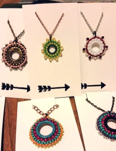 Circle Beaded Handmade Pendants