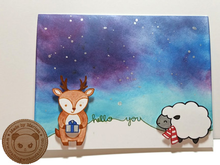 Hello You handmade card with Lawn Fawn stamps by Crafting{without}Kids.